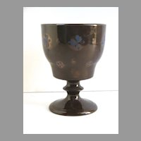 English Copper Luster Footed Goblet Cup Blue Flowers