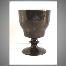 English Copper Luster Goblet Cup Blue Flowers