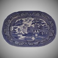 """1920's English Allertons Ltd English England Blue and White Blue Willow 15 1/2"""" by 12 1/4"""""""