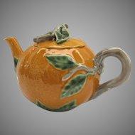 Vintage Bordallo Pinheiro Portugal Tea Pot Teapot Shape of Orange Branch Handle Whimsical