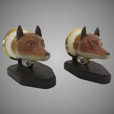 Pair of Meissen Fox Head 19th Century Stirrup Cups on Custom Stands