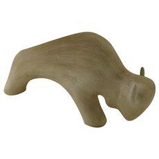 Signed Jack Black '85 Bison Buffalo Matte Glaze Pottery Sculpture
