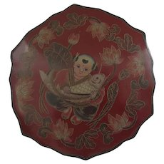 Vintage Red Lacquer Chinese Box Man with Fish