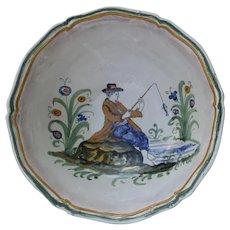 Large Vintage Faience Majolica Bowl Italy Italian Fishing Scene