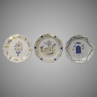 Three French Vintage Faience Plates