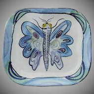 "Vintage Signed ""Suki"" Suki Diamond Majolica Art Pottery California Plate Butterfly"