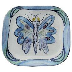 "Vintage Signed ""Suki"" Suki Diamond Majolica Art Pottery California Plate Butterfly"