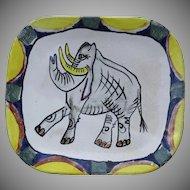 "Vintage Majolica Plate Signed ""Suki"" Elephant Sonoma, California"