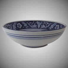 Vintage Large Serving Pasta Bowl Blue and White Renaissance Sur la Table Made in Italy