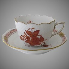 Vintage Herend Chinese Bouquet Rust Demitasse Coffee Cup and Saucer