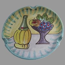Vintage Large Dish Chianti Wine Grapes Fruit MId Century Cigars