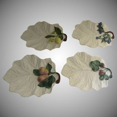 Four (4) Vintage Italian Italy Leaf Plates with Fruit Motif