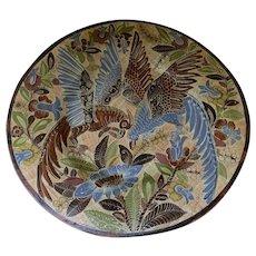 "Huge 24"" Diameter Vintage Petatillo Charger Signed Parrot Birds Foliage"