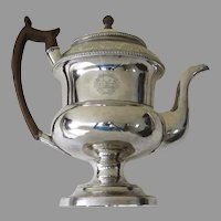 English Old Sheffield Tea Coffee Pot Engraved Family Crest Armorial