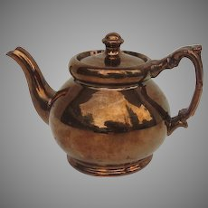 Vintage Copper Luster Small Teapot