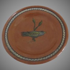 Vintage Hand Painted Mexican Red Pottery Plate Bird