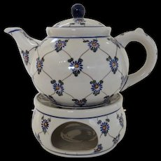 Vintage Un-Used Boleslawiec Polish Poland Pottery Hand Made Teapot with Warmer Burner Flower Lattice