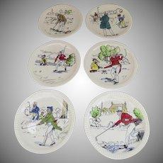 """Vintage Set of Six (6) Syracuse China Whimsical Golfing Plates 8"""""""