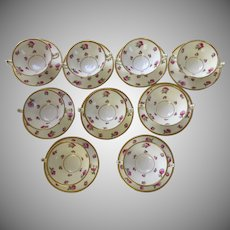 9 x Minton for Tiffany Pink Rose Gold Encrusted Pattern H488 Cream Soups and Underplates c 1900's