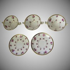 Minton for Tiffany & Co Pattern H488 Rose Gold Encrusted Cream Bouillon Soups