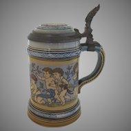 Vintage Mettlach #2121 Children Bacchus Stein  1/4 Liter