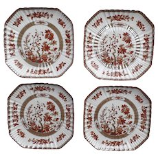 "4 x Vintage Spode India Indian Tree Rust Square 8 1/4"" Plate Older Mark Backstamp"