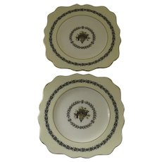 2 x Vintage Wedgwood Appledore Square Salad Dessert Luncheon Plates Scalloped Edge