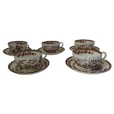 Vintage 5 x COPELAND SPODE India Indian Tree Rust Cups & Saucers