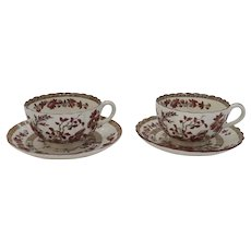 Two Vintage Spode Copeland India Indian Tree Rust Cup and Saucers