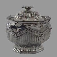 English Silver Luster Sugar Bowl c 1820