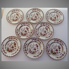 "8 x Vintage Spode India Indian Tree Rust 6 3/8"" Plates Mark Bread Butter"