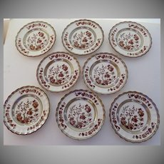 """8 x Vintage Spode India Indian Tree Rust 6 3/8"""" Plates Mark Bread Butter"""