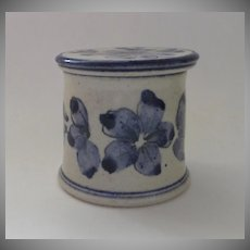 Born Polly Butter Keeper Bell Crock Stoneware Pottery Boulder Blue and White