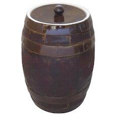 Large 19th Century Pottery Ceramic Pickle Brining Barrel Faux Bois