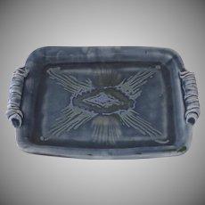 Beautiful Blue Glazed Dish Tray by Lisa Koch Signed Scroll Side Handles