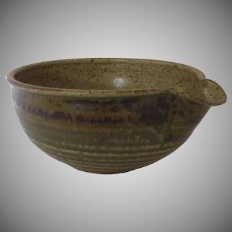 Vintage Wheel Thrown Pottery Batter Bowl with Spout Signed Country Rustic