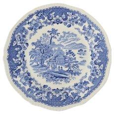 "Vintage Enoch & Ralph Wood's Blue and White Transferware SEAFORTH 10"" Plate Burslem England"