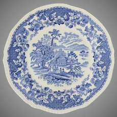 "Vintage Enoch & Ralph Wood's Blue and White Transferware SEAFORTH 10"" Plate Burslem England"