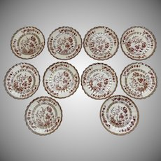 8 x Old Mark India Tree Spode Saucers