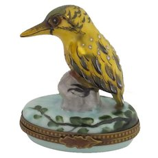 Vintage Hand Painted Limoges Box 24K Gold Bird Chamart