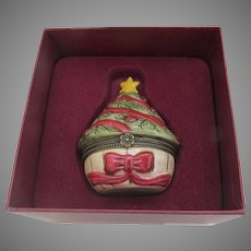Vintage Villeroy & Boch Porcelain Box Christmas Tree Red Bow Original Box