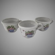 3 x Vintage Cups Portugal Faience Majolica Basket Flowers by MM Portugal Hand Painted Country