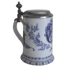 Vintage Porcelain Blue and White Stein Mug Tankard with Lid Lions German Kuhr Muhlreid