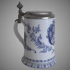 Vintage Porcelain Blue and White Stein Mug Tankard with Lid Lions German Kuhr Muhlreid