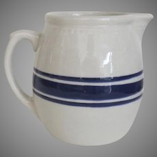 Vintage Country Kitchen Stoneware Large Pitcher Blue and White Glaze