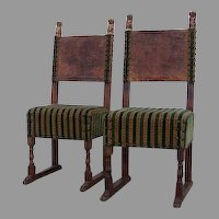 17th Century Pair Italian Side Chairs