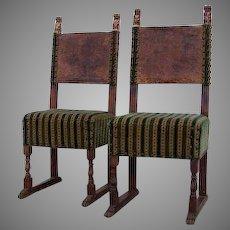17th Century Pair Italian Side Chairs