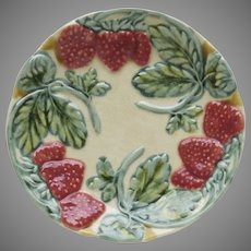 Vintage French Majolica Plate with Relief Raised Strawberries FFAS Faiencerie d'Art de le Sorgue