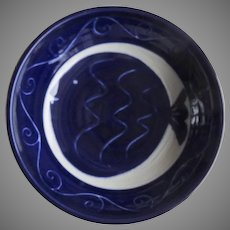 Bowl by Chris Conklin Boulder Potter Cobalt Blue Fish Signed