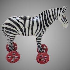 Signed Original Ceramic Zebra Sculpture by Andree Richmond